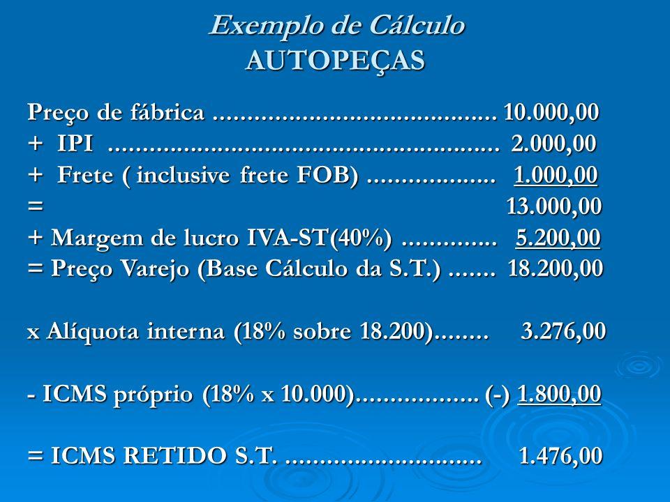 Preço de fábrica.......................................... 10.000,00 + IPI.......................................................... 2.000,00 + Frete