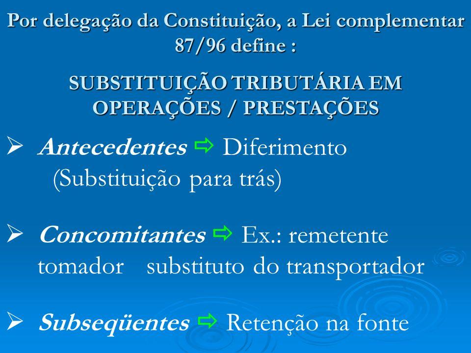 Por delegação da Constituição, a Lei complementar 87/96 define : SUBSTITUIÇÃO TRIBUTÁRIA EM OPERAÇÕES / PRESTAÇÕES Antecedentes Diferimento (Substitui
