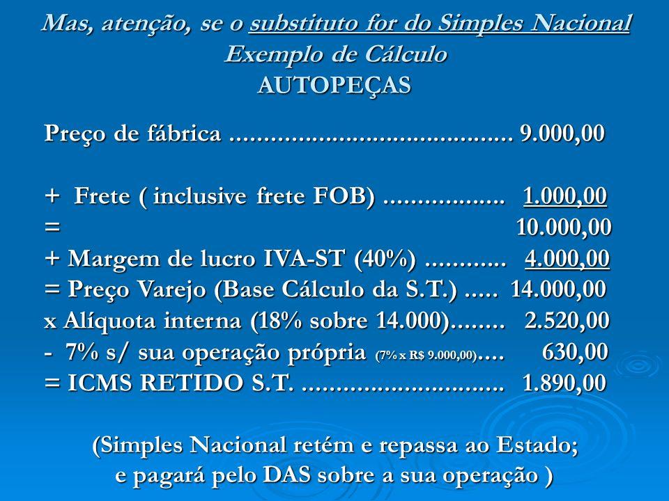 Preço de fábrica.......................................... 9.000,00 + Frete ( inclusive frete FOB).................. 1.000,00 = 10.000,00 + Margem de