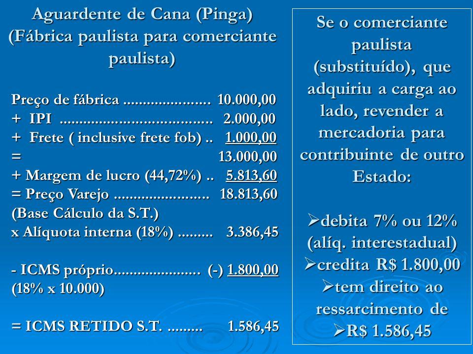 Preço de fábrica...................... 10.000,00 + IPI...................................... 2.000,00 + Frete ( inclusive frete fob).. 1.000,00 = 13.0
