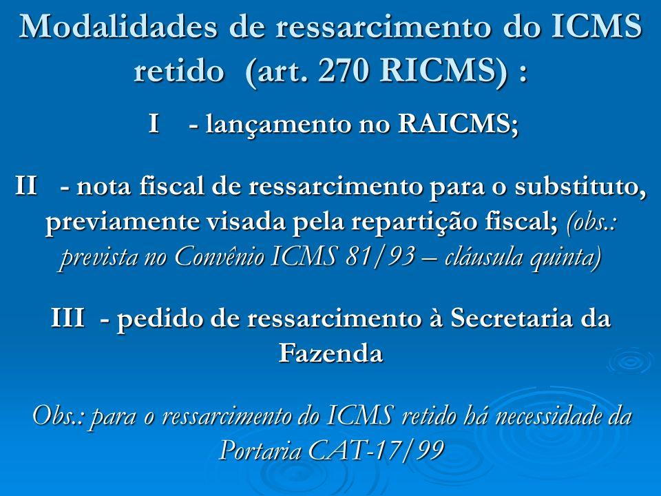 I - lançamento no RAICMS; I - lançamento no RAICMS; II - nota fiscal de ressarcimento para o substituto, previamente visada pela repartição fiscal; (o