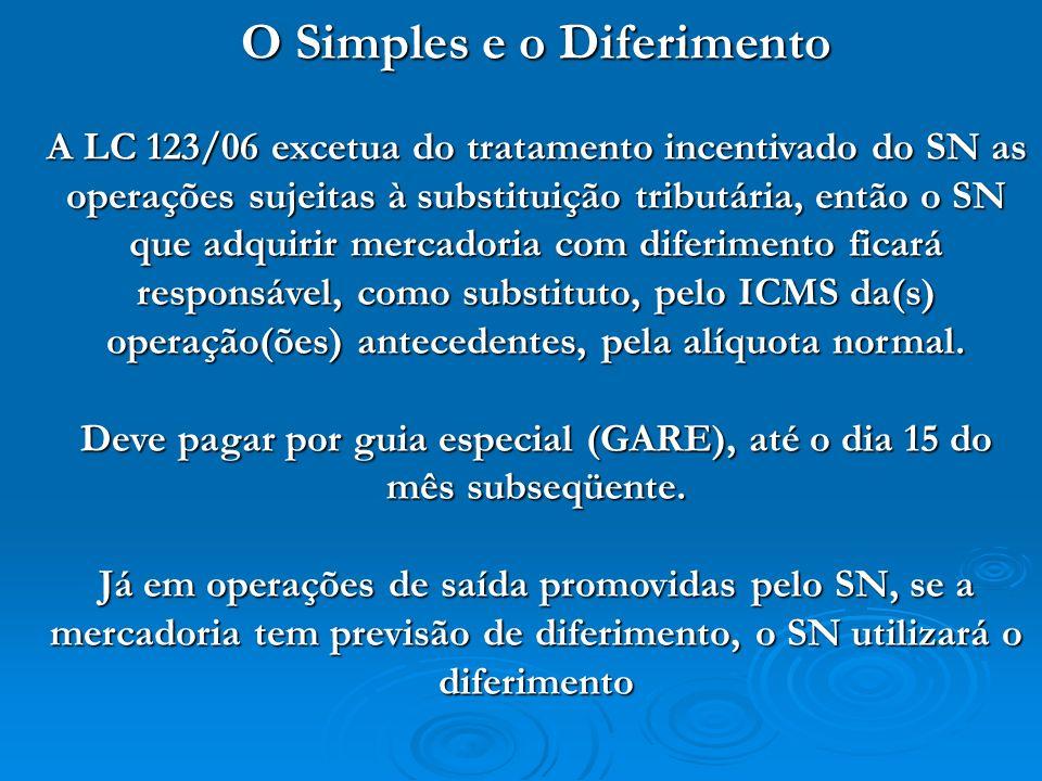 O Simples e o Diferimento A LC 123/06 excetua do tratamento incentivado do SN as operações sujeitas à substituição tributária, então o SN que adquirir