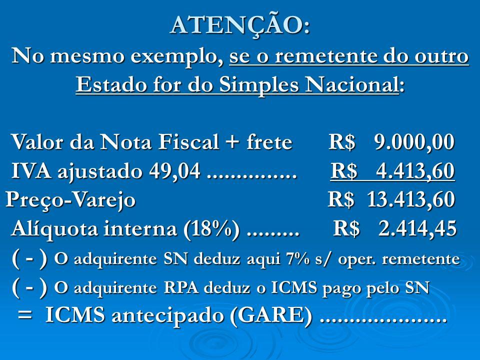 ATENÇÃO: No mesmo exemplo, se o remetente do outro Estado for do Simples Nacional: Valor da Nota Fiscal + frete R$ 9.000,00 Valor da Nota Fiscal + fre