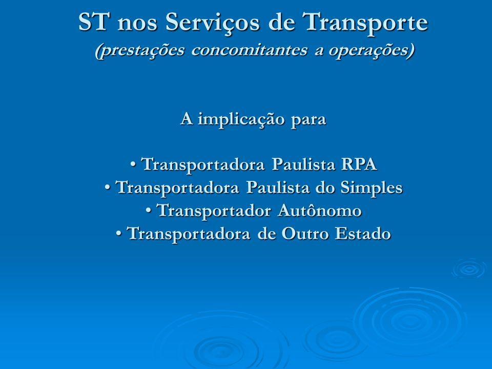 ST nos Serviços de Transporte (prestações concomitantes a operações) A implicação para Transportadora Paulista RPA Transportadora Paulista RPA Transpo