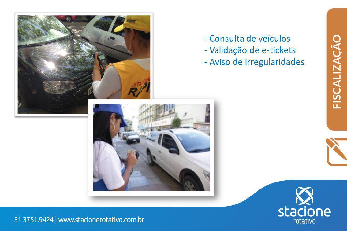 - Consulta de veículos - Validação de e-tickets - Aviso de irregularidades