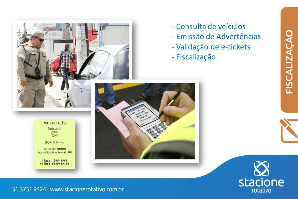 - Consulta de veículos - Emissão de Advertências - Validação de e-tickets - Fiscalização