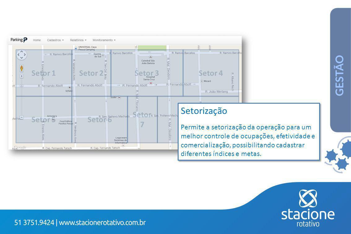 Setor 1 Setor 5 Setor 2 Setor 6 Setor 3 Setor 7 Setor 4 Setor 8 Setorização Permite a setorização da operação para um melhor controle de ocupações, efetividade e comercialização, possibilitando cadastrar diferentes índices e metas.