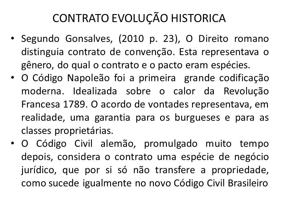 CONTRATO EVOLUÇÃO HISTORICA Segundo Gonsalves, (2010 p. 23), O Direito romano distinguia contrato de convenção. Esta representava o gênero, do qual o