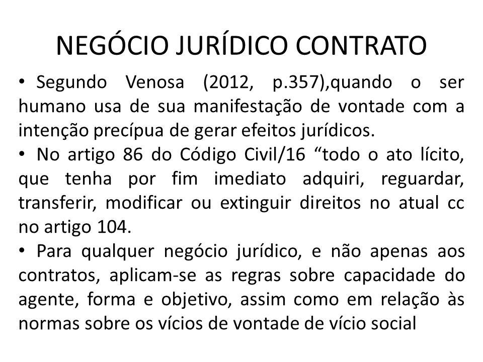 NEGÓCIO JURÍDICO CONTRATO Segundo Venosa (2012, p.357),quando o ser humano usa de sua manifestação de vontade com a intenção precípua de gerar efeitos