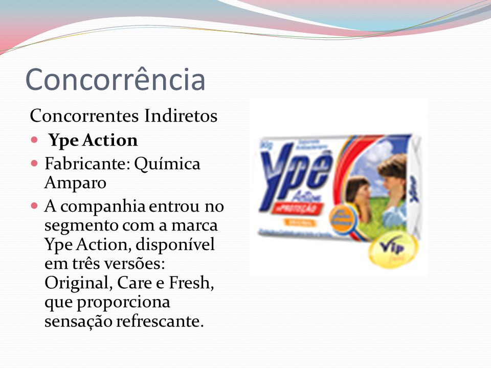 Concorrência Concorrentes Indiretos Ype Action Fabricante: Química Amparo A companhia entrou no segmento com a marca Ype Action, disponível em três versões: Original, Care e Fresh, que proporciona sensação refrescante.