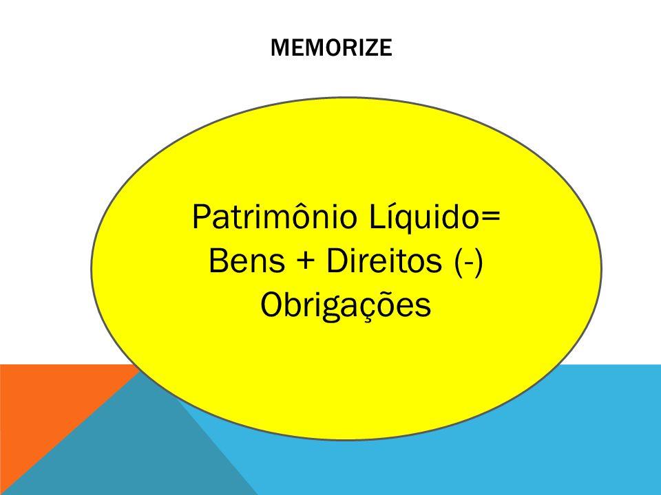 MEMORIZE Patrimônio Líquido= Bens + Direitos (-) Obrigações