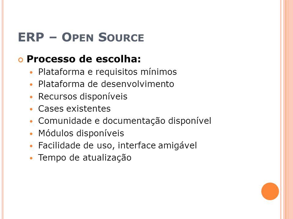 ERP – O PEN S OURCE Processo de escolha: Plataforma e requisitos mínimos Plataforma de desenvolvimento Recursos disponíveis Cases existentes Comunidade e documentação disponível Módulos disponíveis Facilidade de uso, interface amigável Tempo de atualização