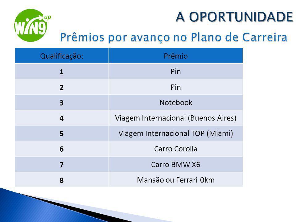 Qualificação:Prêmio 1Pin 2 3Notebook 4Viagem Internacional (Buenos Aires) 5Viagem Internacional TOP (Miami) 6Carro Corolla 7Carro BMW X6 8Mansão ou Fe