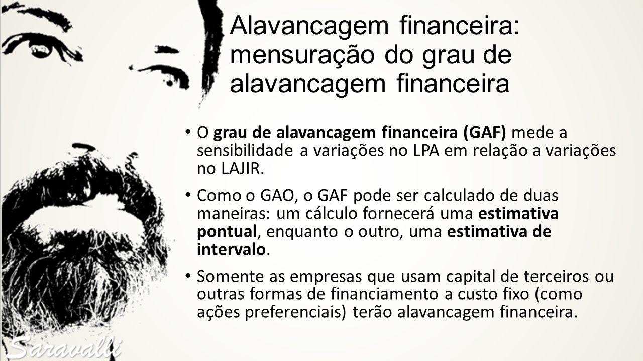 Alavancagem financeira: mensuração do grau de alavancagem financeira O grau de alavancagem financeira (GAF) mede a sensibilidade a variações no LPA em