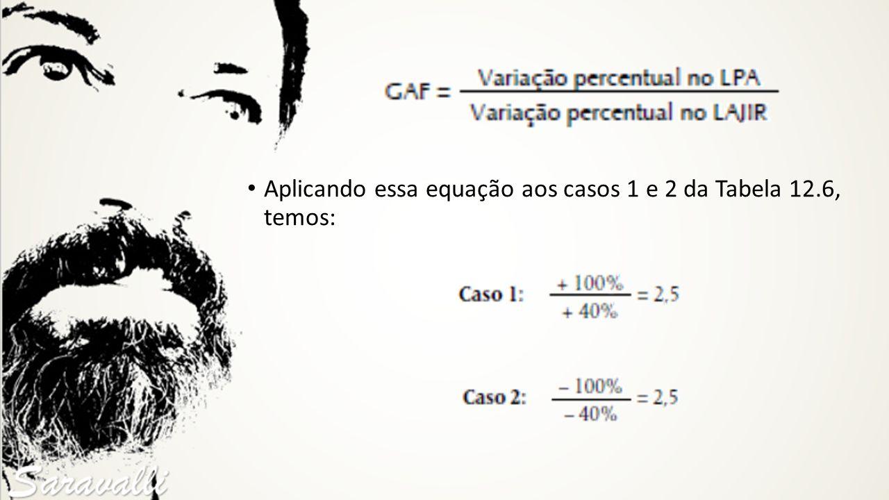 Aplicando essa equação aos casos 1 e 2 da Tabela 12.6, temos: