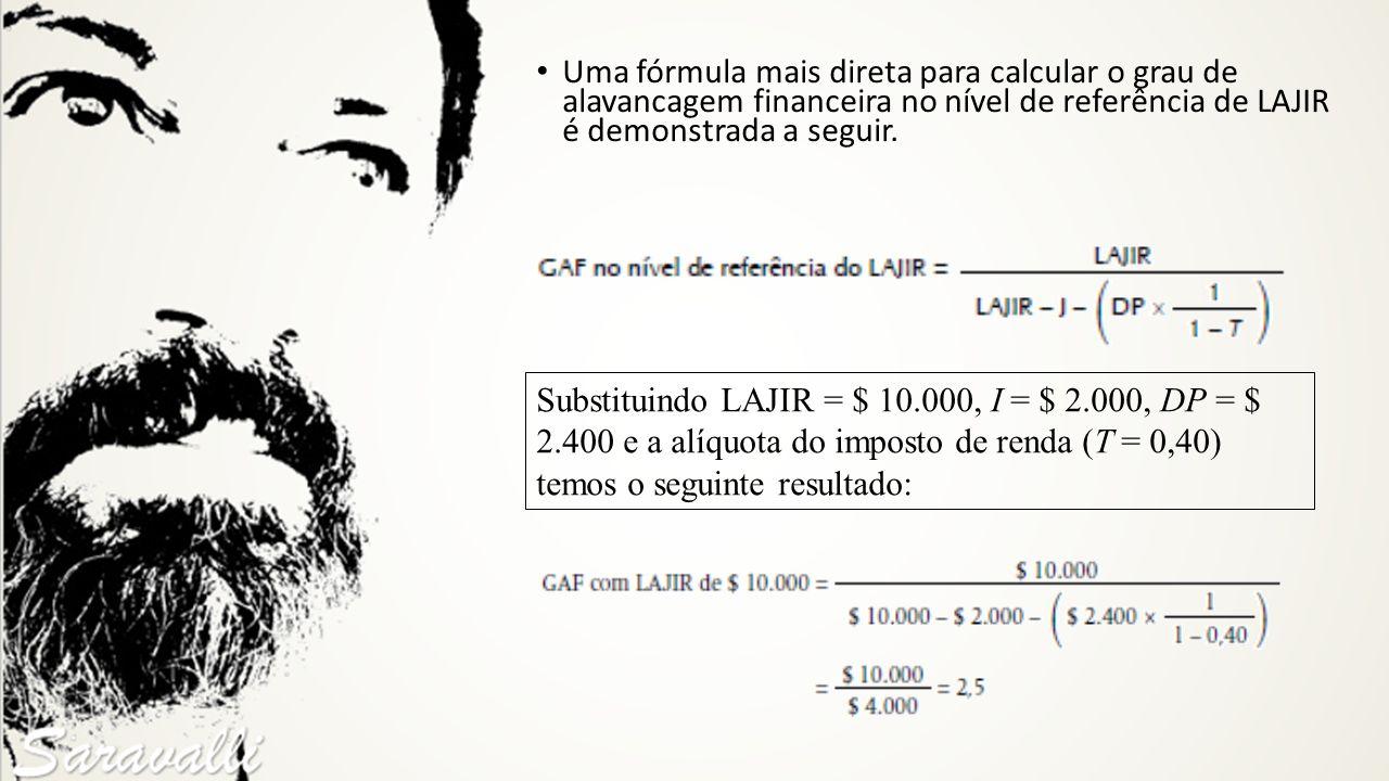 Substituindo LAJIR = $ 10.000, I = $ 2.000, DP = $ 2.400 e a alíquota do imposto de renda (T = 0,40) temos o seguinte resultado: Uma fórmula mais dire