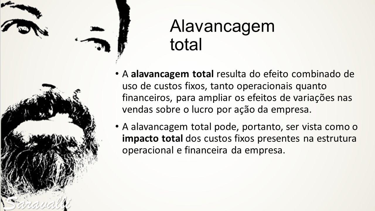Alavancagem total A alavancagem total resulta do efeito combinado de uso de custos fixos, tanto operacionais quanto financeiros, para ampliar os efeit