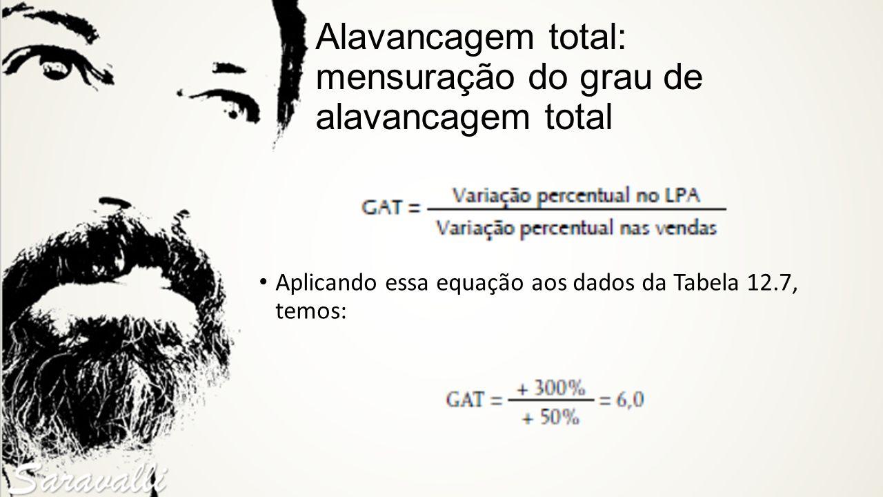 Alavancagem total: mensuração do grau de alavancagem total Aplicando essa equação aos dados da Tabela 12.7, temos:
