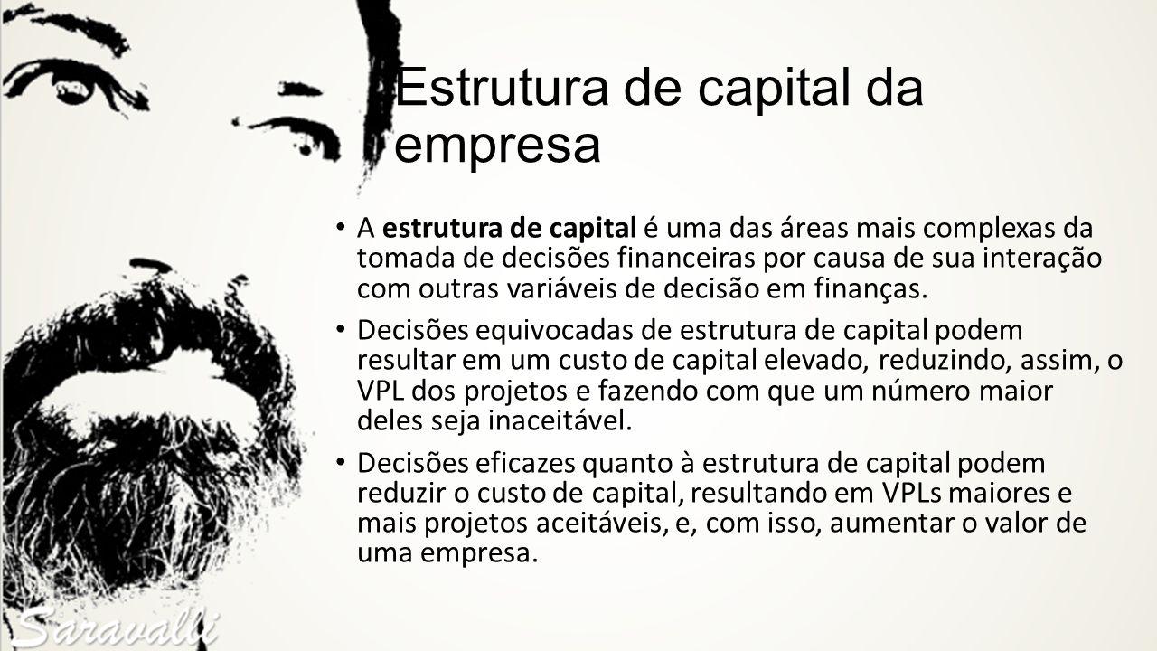 Estrutura de capital da empresa A estrutura de capital é uma das áreas mais complexas da tomada de decisões financeiras por causa de sua interação com