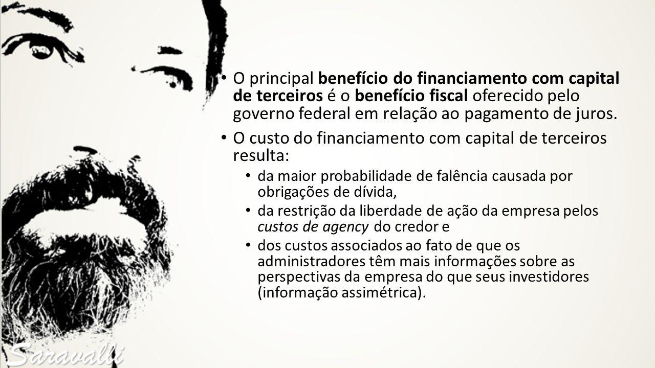 O principal benefício do financiamento com capital de terceiros é o benefício fiscal oferecido pelo governo federal em relação ao pagamento de juros.