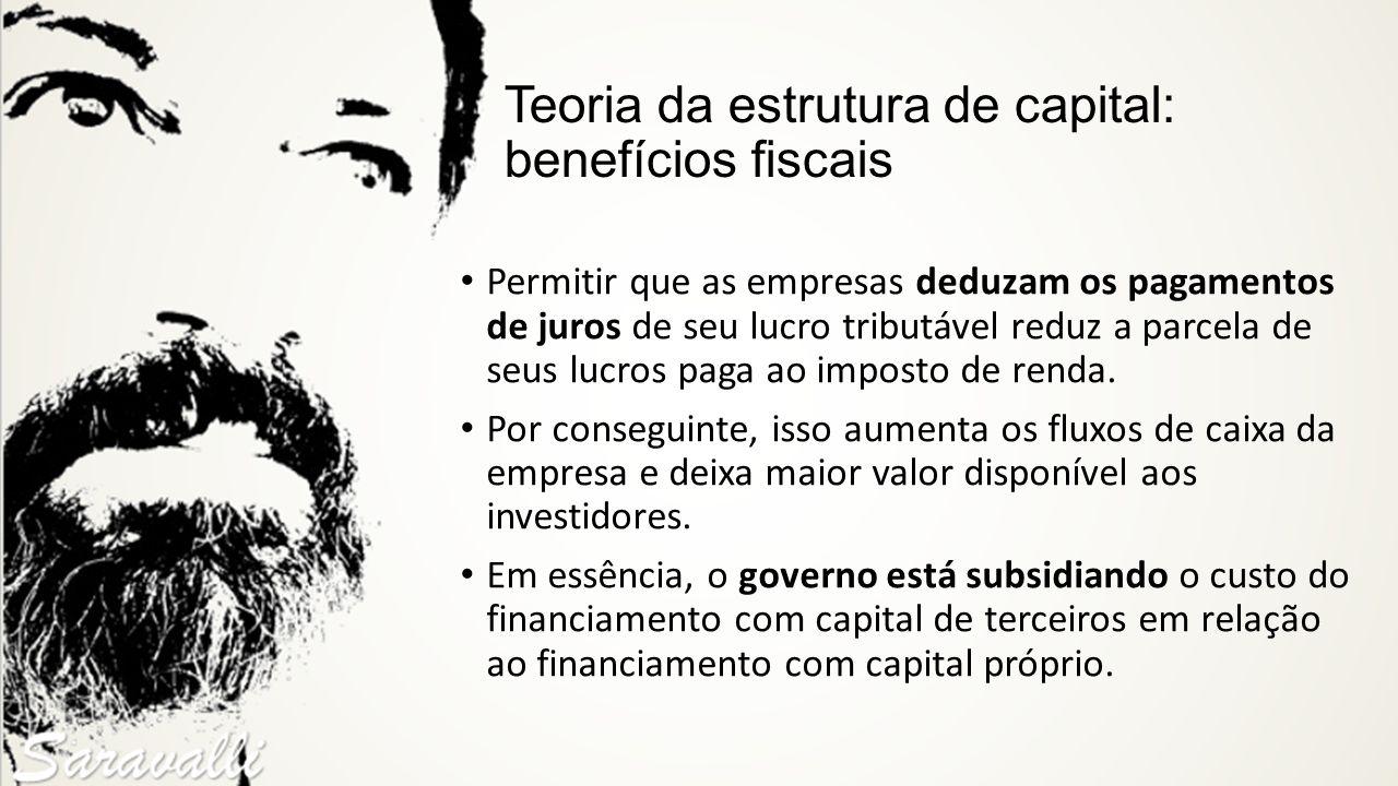 Teoria da estrutura de capital: benefícios fiscais Permitir que as empresas deduzam os pagamentos de juros de seu lucro tributável reduz a parcela de