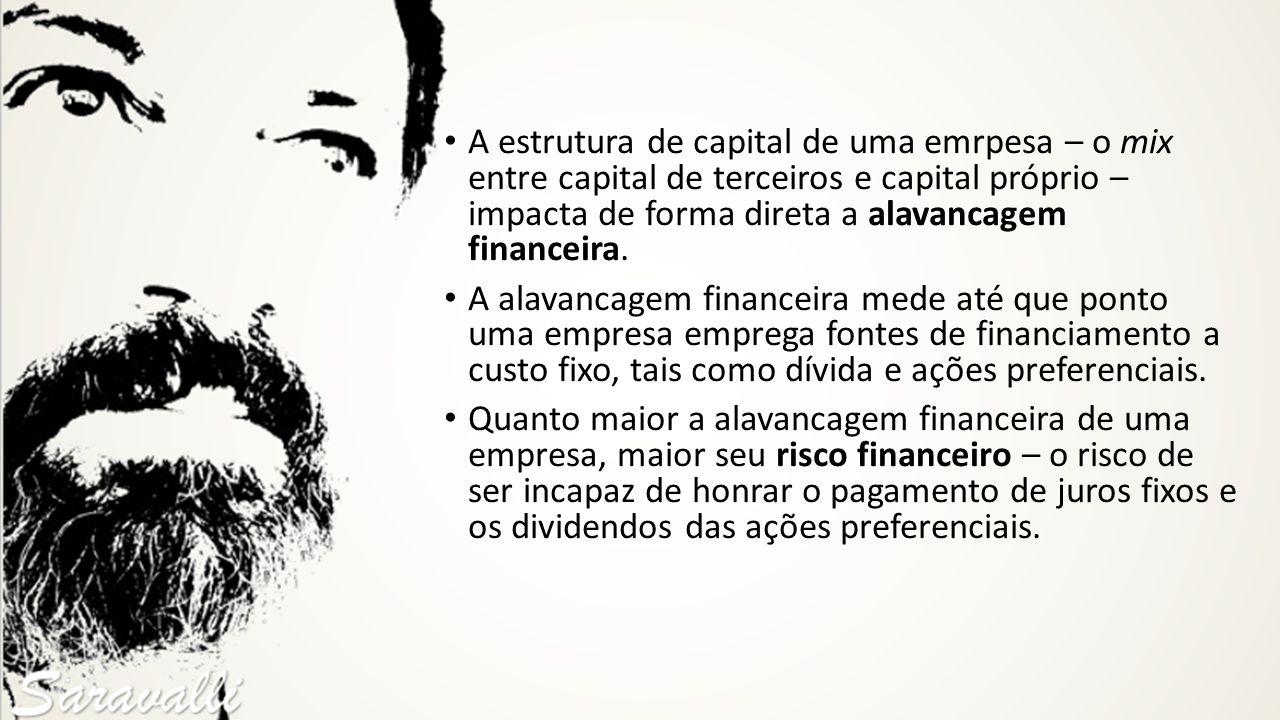 A estrutura de capital de uma emrpesa – o mix entre capital de terceiros e capital próprio – impacta de forma direta a alavancagem financeira. A alava