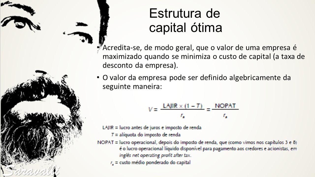 Estrutura de capital ótima Acredita-se, de modo geral, que o valor de uma empresa é maximizado quando se minimiza o custo de capital (a taxa de descon