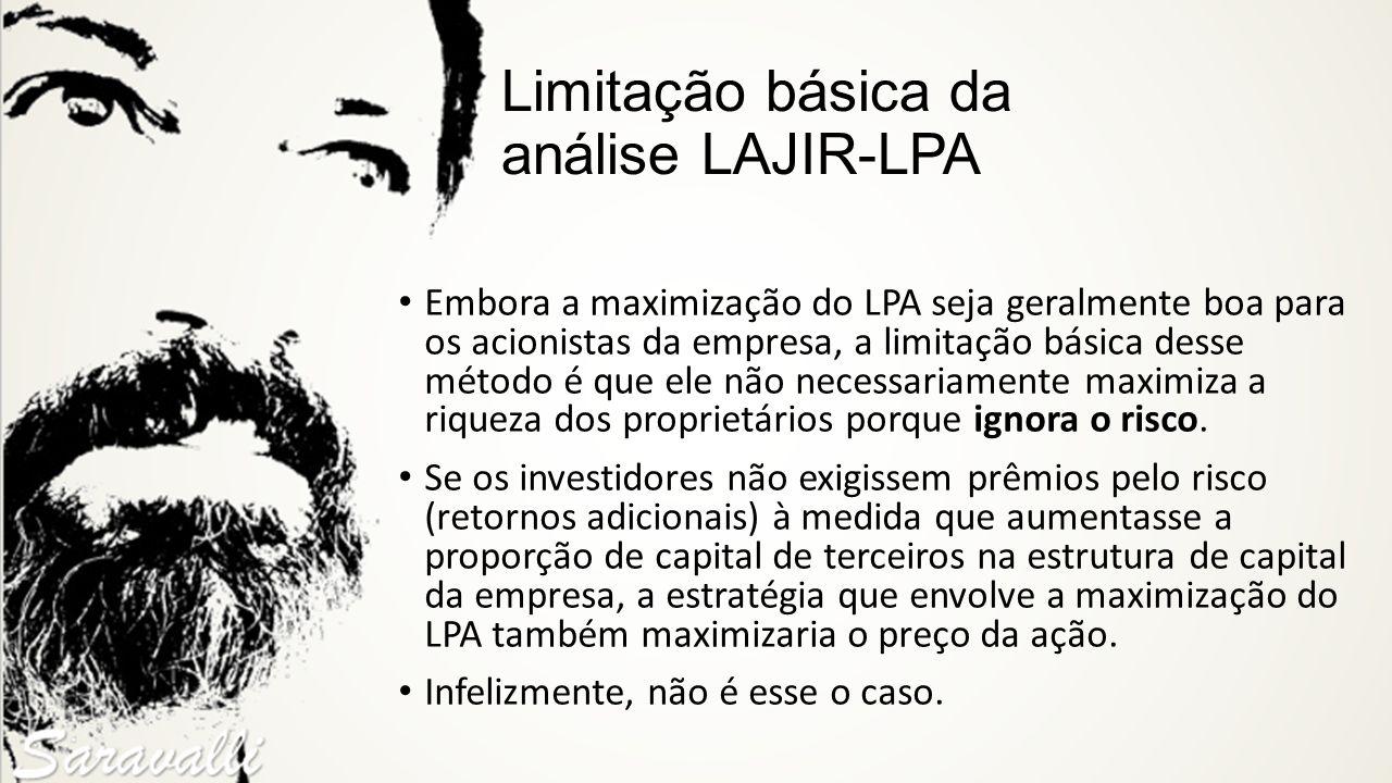 Limitação básica da análise LAJIR-LPA Embora a maximização do LPA seja geralmente boa para os acionistas da empresa, a limitação básica desse método é