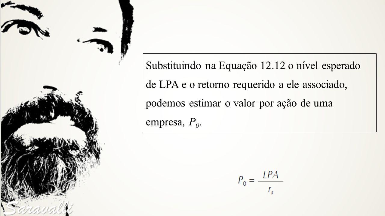 Substituindo na Equação 12.12 o nível esperado de LPA e o retorno requerido a ele associado, podemos estimar o valor por ação de uma empresa, P 0.