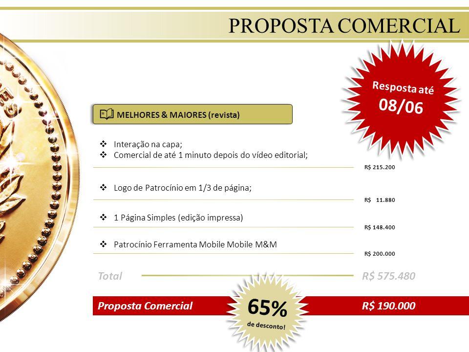 PROPOSTA COMERCIAL Interação na capa; Comercial de até 1 minuto depois do vídeo editorial; R$ 215.200 Logo de Patrocínio em 1/3 de página; R$ 11.880 1