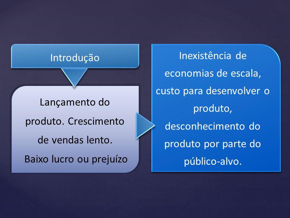Introdução Inexistência de economias de escala, custo para desenvolver o produto, desconhecimento do produto por parte do público-alvo. Lançamento do