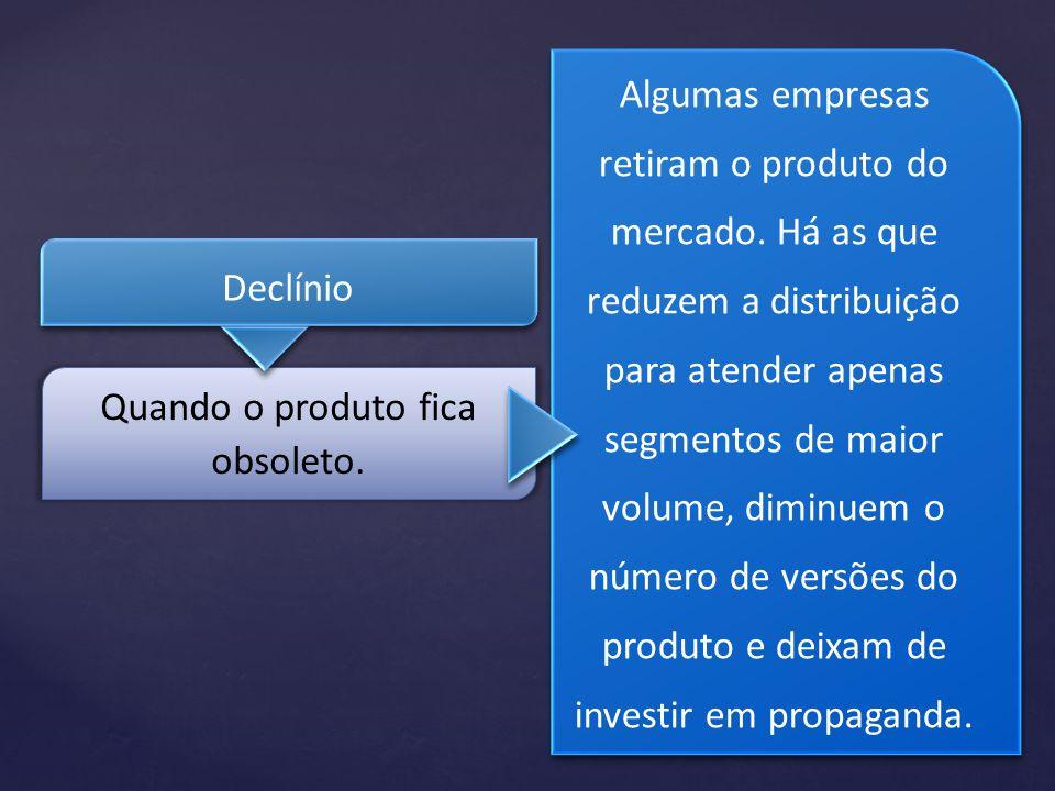 Declínio Algumas empresas retiram o produto do mercado. Há as que reduzem a distribuição para atender apenas segmentos de maior volume, diminuem o núm