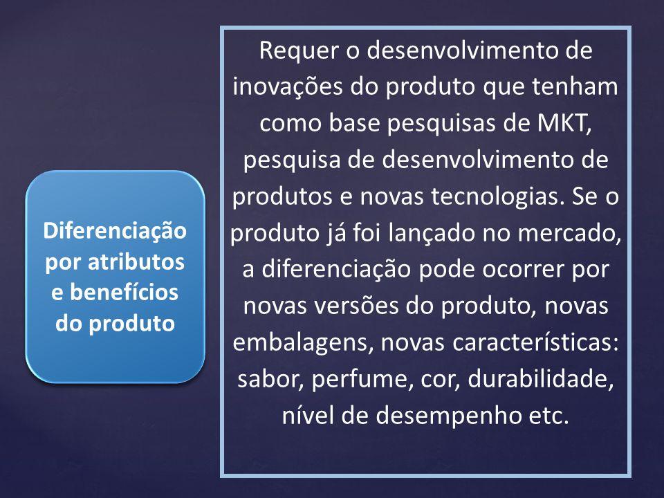 Diferenciação por atributos e benefícios do produto Requer o desenvolvimento de inovações do produto que tenham como base pesquisas de MKT, pesquisa d
