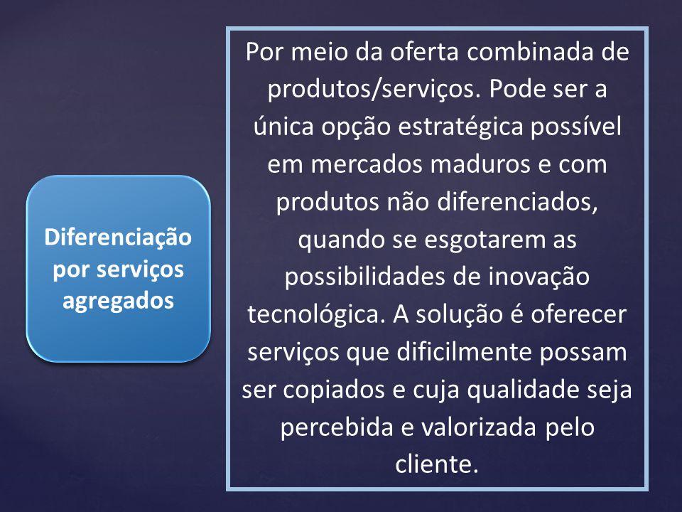 Diferenciação por serviços agregados Por meio da oferta combinada de produtos/serviços. Pode ser a única opção estratégica possível em mercados maduro