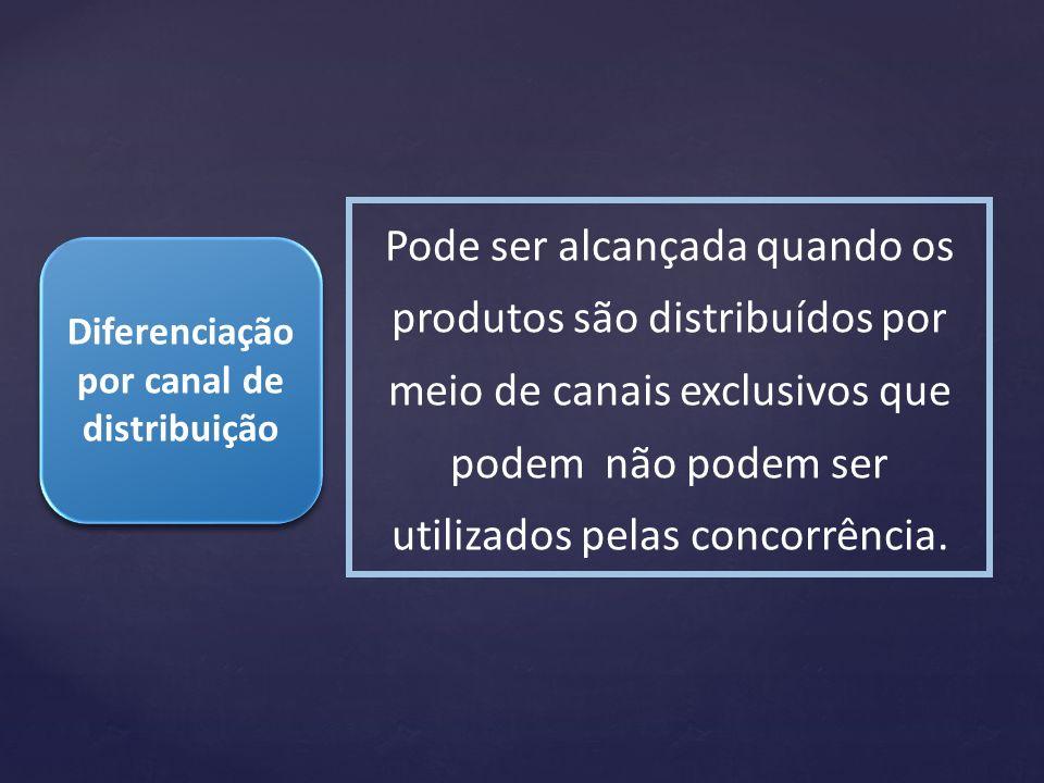 Diferenciação por canal de distribuição Pode ser alcançada quando os produtos são distribuídos por meio de canais exclusivos que podem não podem ser u