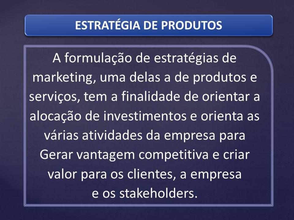 ESTRATÉGIA DE PRODUTOS A formulação de estratégias de marketing, uma delas a de produtos e serviços, tem a finalidade de orientar a alocação de invest