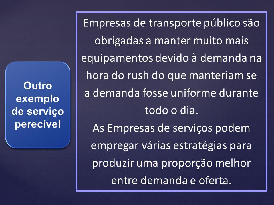 Outro exemplo de serviço perecível Empresas de transporte público são obrigadas a manter muito mais equipamentos devido à demanda na hora do rush do q
