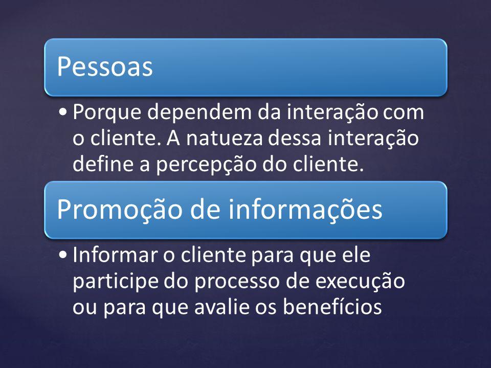 Pessoas Porque dependem da interação com o cliente. A natueza dessa interação define a percepção do cliente. Promoção de informações Informar o client