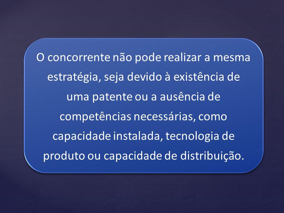 O concorrente não pode realizar a mesma estratégia, seja devido à existência de uma patente ou a ausência de competências necessárias, como capacidade