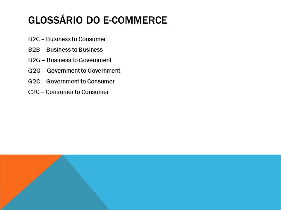 GLOSSÁRIO DO E-COMMERCE B2C – Business to Consumer B2B – Business to Business B2G – Business to Government G2G – Government to Government G2C – Government to Consumer C2C – Consumer to Consumer