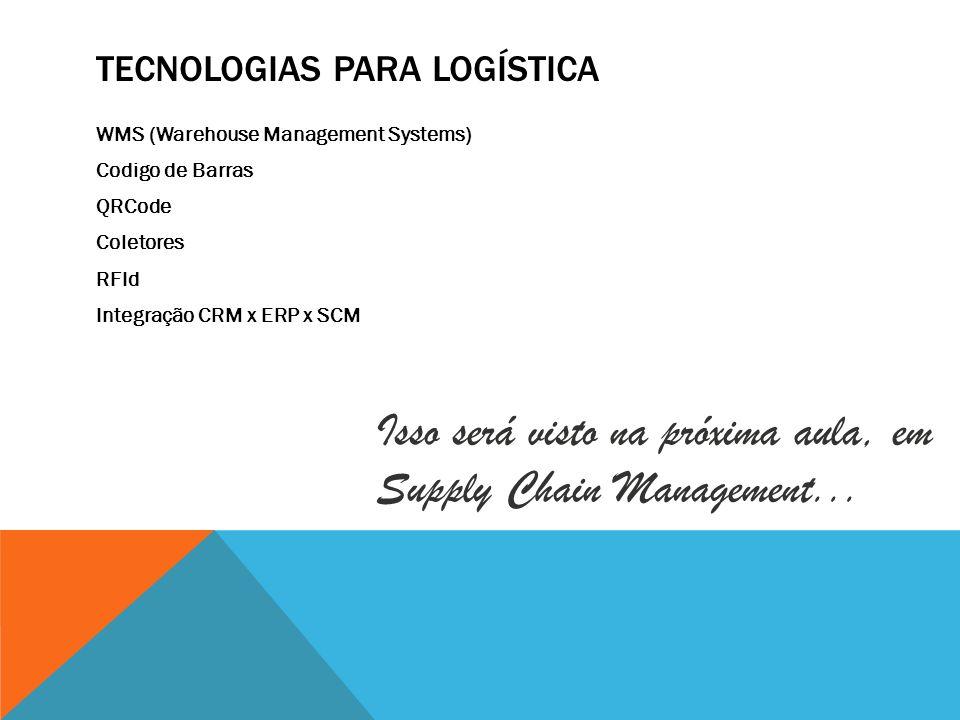 TECNOLOGIAS PARA LOGÍSTICA WMS (Warehouse Management Systems) Codigo de Barras QRCode Coletores RFId Integração CRM x ERP x SCM Isso será visto na pró