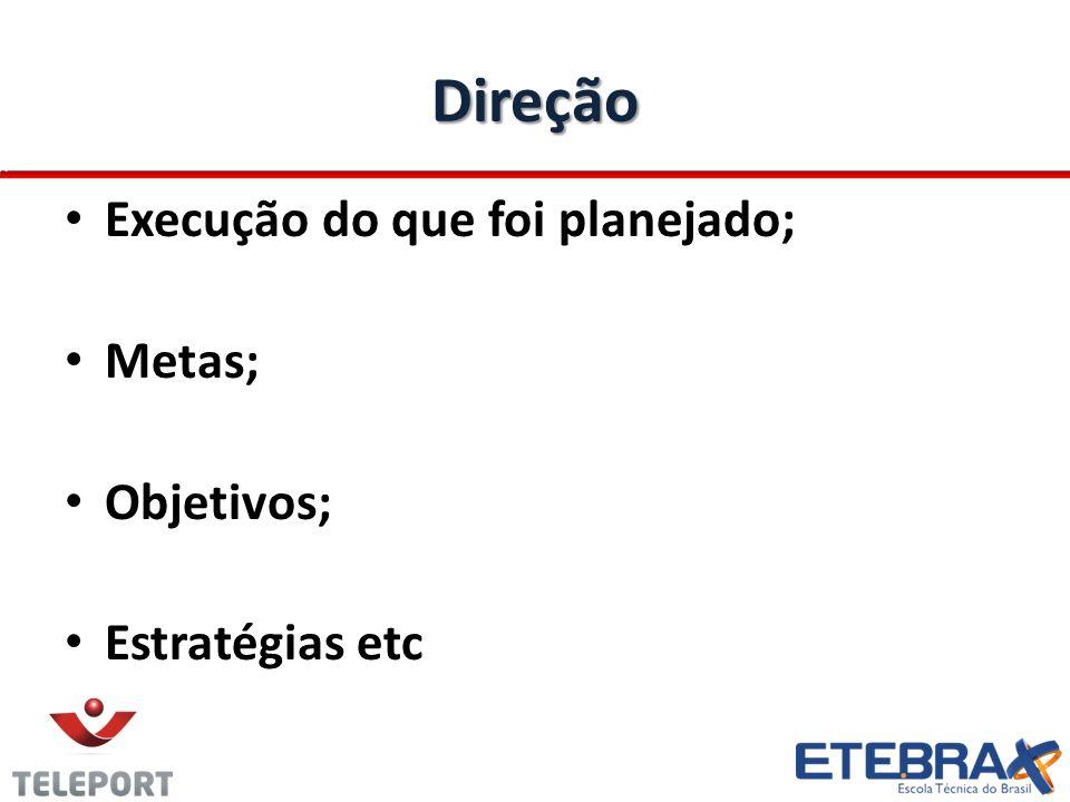 Direção Execução do que foi planejado; Metas; Objetivos; Estratégias etc