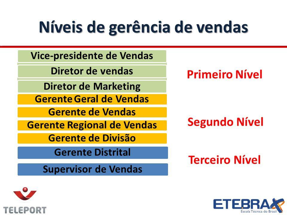 Níveis de gerência de vendas Vice-presidente de VendasDiretor de vendasDiretor de Marketing Gerente Geral de VendasGerente de VendasGerente Regional d