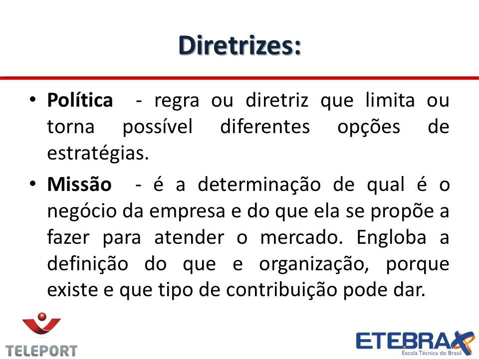 Diretrizes: Política - regra ou diretriz que limita ou torna possível diferentes opções de estratégias. Missão - é a determinação de qual é o negócio
