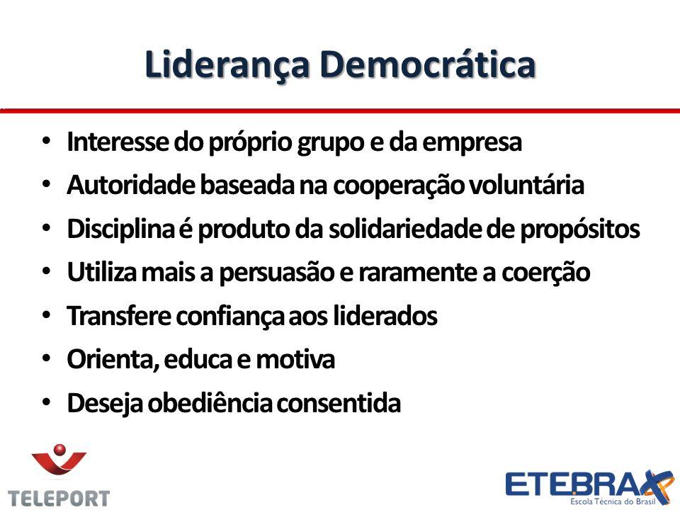 Liderança Democrática Interesse do próprio grupo e da empresa Autoridade baseada na cooperação voluntária Disciplina é produto da solidariedade de pro
