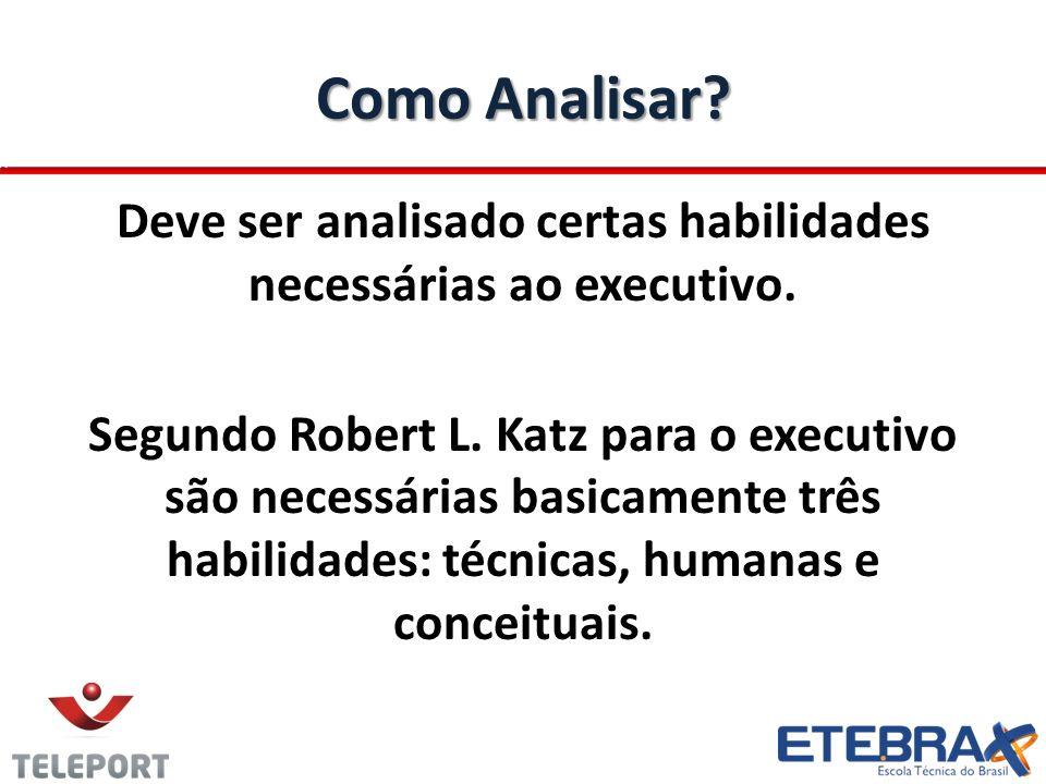 Como Analisar? Deve ser analisado certas habilidades necessárias ao executivo. Segundo Robert L. Katz para o executivo são necessárias basicamente trê