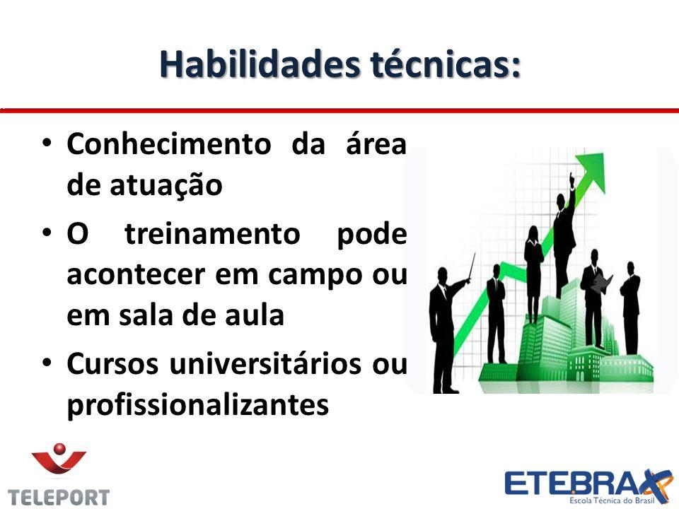 Habilidades técnicas: Conhecimento da área de atuação O treinamento pode acontecer em campo ou em sala de aula Cursos universitários ou profissionaliz