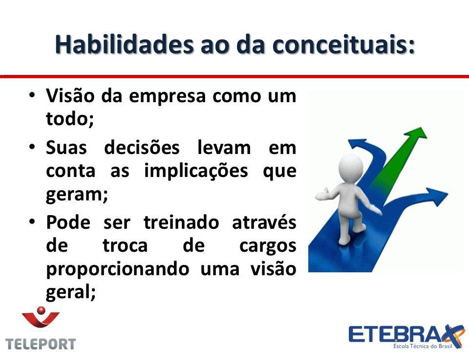Habilidades ao da conceituais: Visão da empresa como um todo; Suas decisões levam em conta as implicações que geram; Pode ser treinado através de troca de cargos proporcionando uma visão geral;