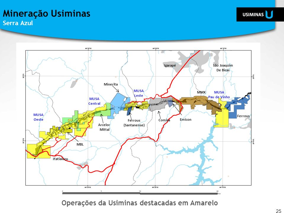 Mineração Usiminas Serra Azul 25 MBL Arcelor Mittal Ferrous (Santanense) Comisa Emicon MMX Ferrous MUSA Pau de Vinho MUSA Leste Minerita MUSA Central