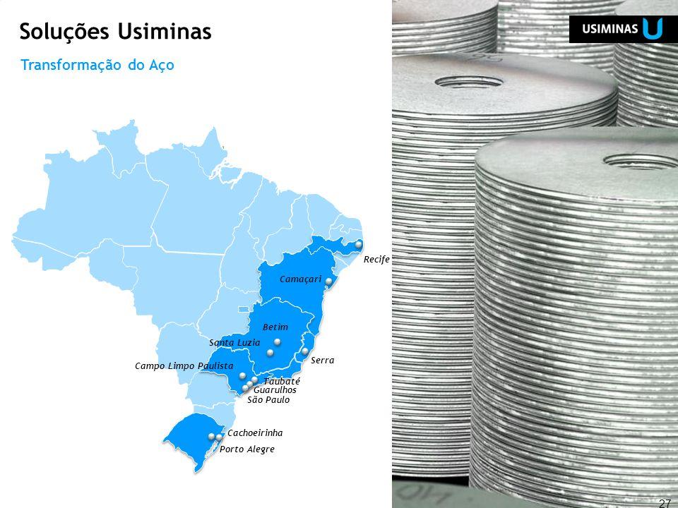 27 Camaçari Cachoeirinha Porto Alegre Campo Limpo Paulista São Paulo Guarulhos Taubaté Recife Serra Betim Santa Luzia Soluções Usiminas Transformação
